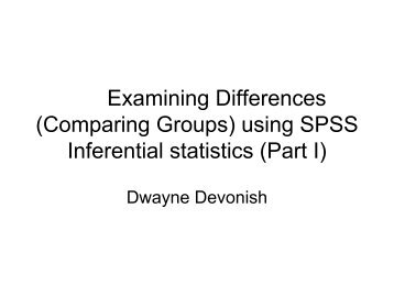 (Comparing Groups) using SPSS Inferential statistics - Caribbean ...