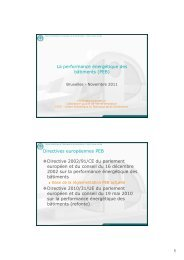 La performance énergétique des bâtiments (PEB) Directives ... - RISE
