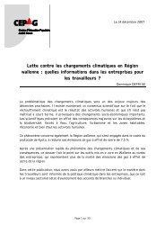 Lutte contre les changements climatiques en Région wallonne - RISE