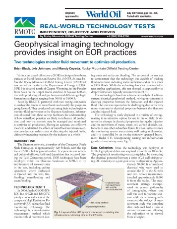 Geophysical imaging technology provides insight on EOR ... - RMOTC