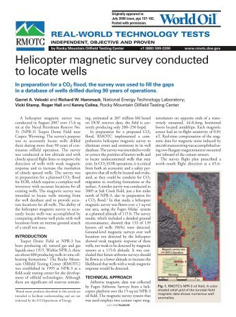 Helicopter magnetic survey conducted to locate wells