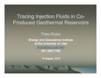 Tracing Injection Fluids in Co-Produced Geothermal Fields - RMOTC