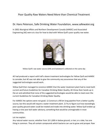 Poor Quality Raw Waters Need More than Chemical Treatment Dr ...