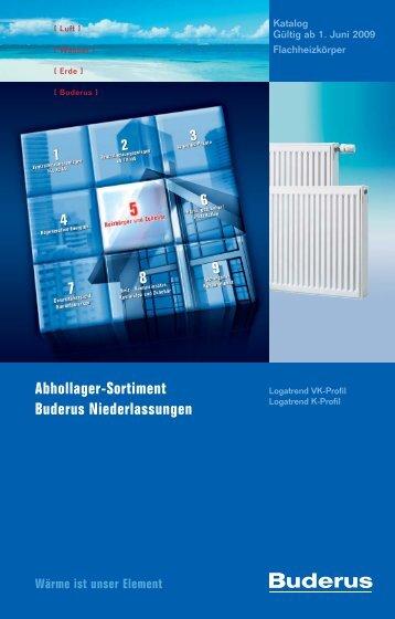 Abhollager-Sortiment Buderus Niederlassungen