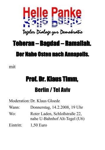 Professor Dr. Klaus Timm Vita - DIE LINKE. Berlin