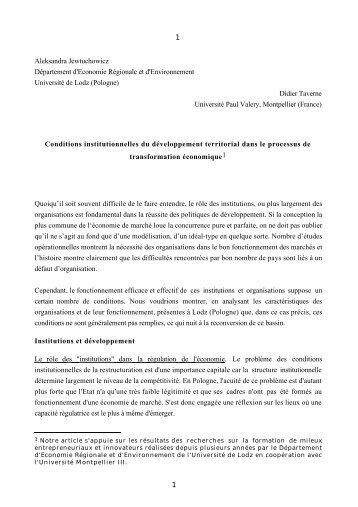 Conditions institutionnelles du développement territorial dans le ...