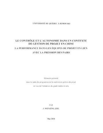 le contrôle et l'autonomie dans un contexte de gestion de projet en ...