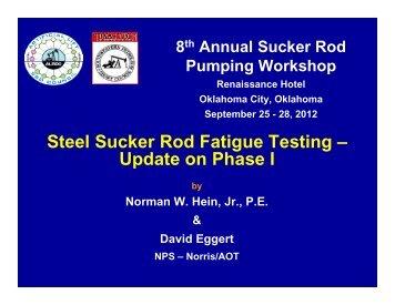 Steel Sucker Rod Fatigue Testing – Update on Phase I - ALRDC