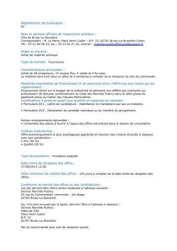Type de marché : Fournitur - Ville de Bruay-La-Buissière