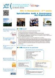 MSc Audit et Gouvernance des Organisations - IAE Aix-en-Provence