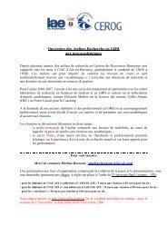 présentation ateliers recherche en GRH - IAE Aix-en-Provence