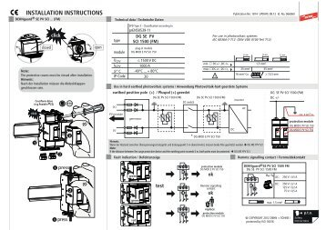 INSTALLATION INSTRUCTIONS - Dehn + Söhne Blitzschutzsysteme