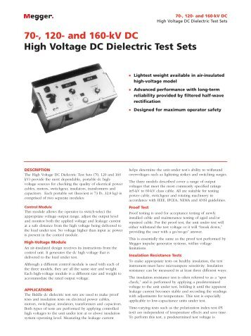 70-, 120- and 160-kV DC High Voltage DC Dielectric Test ... - Maxtech