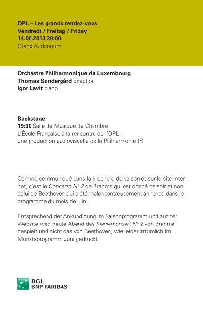 Programme du soir (PDF) - Philharmonie