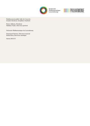 Établissement public Salle de Concerts Grande ... - Philharmonie