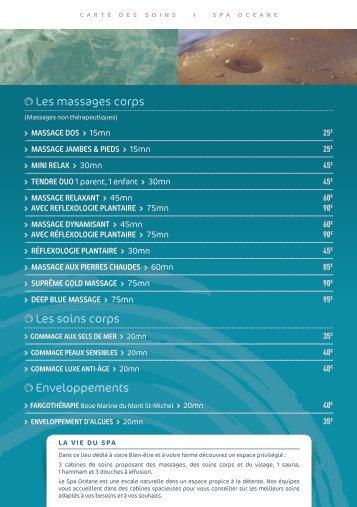 Les massages corps Les soins corps enveloppements - Spa Océane
