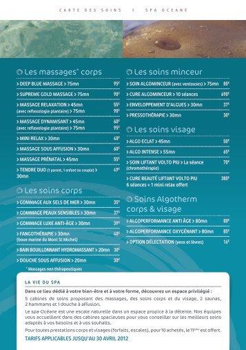 Les massages* corps Les soins corps Les soins ... - Spa Océane