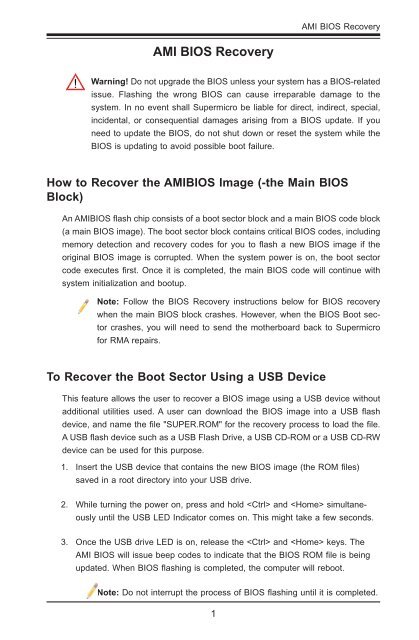 AMI BIOS Recovery 1 0a indd
