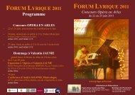 FORUM LYRIQUE 2011 Concours Opéra en Arles - Foxoo