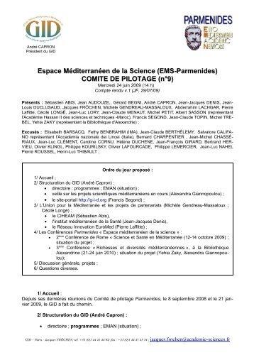 Compte rendu du Comité de pilotage EMS-PARMENIDES