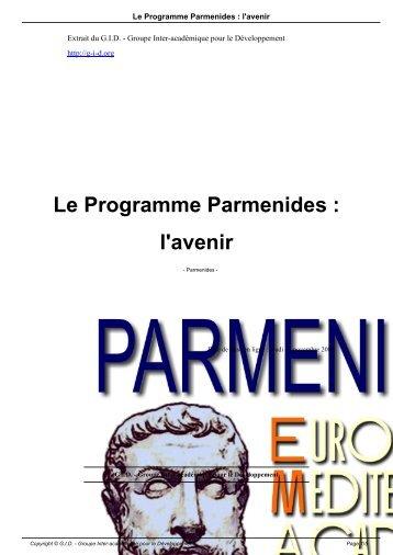 Le Programme Parmenides : l'avenir - GID - Groupe Inter ...