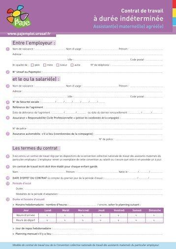 Contrat De Travail A Duree Indeterminee Pajemploi Urssaf
