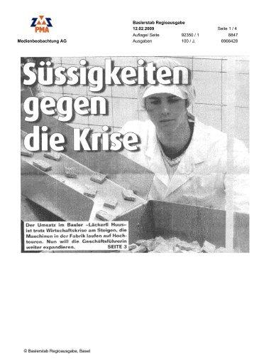 Medienbeobachtung AG Baslerstab Regioausgabe ... - Läckerli Huus