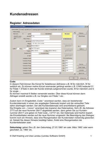 Kundenadressen, Verwaltung und Kundenkarte im Infoman