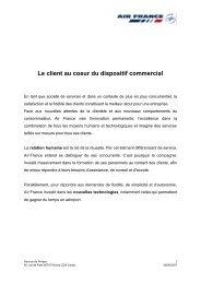 Le client au coeur du dispositif commercial - Air France