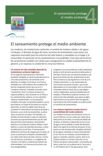 El saneamiento protege el medio ambiente: ficha descriptiva 4 - ONU