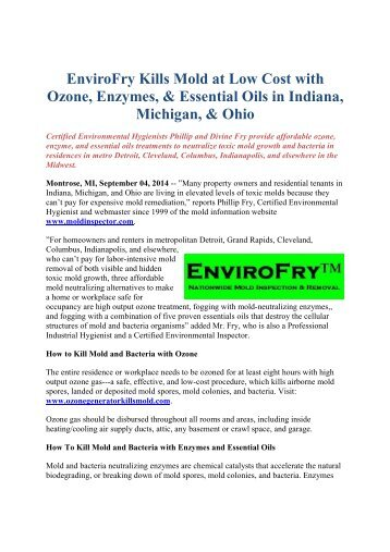 EnviroFry Re mends First Class Mold Inspection and Remediation for