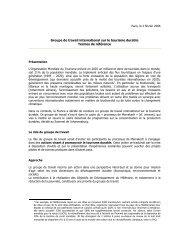 Groupe de travail international sur le tourisme durable Termes de ...