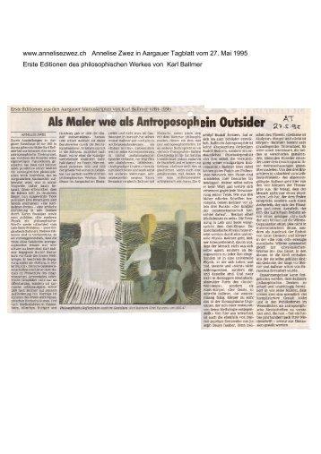 Karl Ballmer Editionen aus philosophischen Werk ... - Annelise Zwez