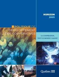 Politique de développement des - mdeie - Gouvernement du Québec