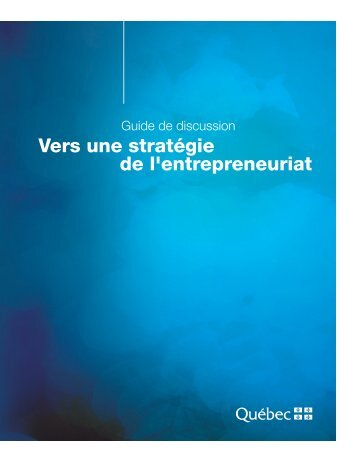 Vers une stratégie de l'entrepreneuriat - mdeie - Gouvernement du ...
