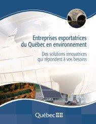Entreprises exportatrices du Québec en environnement - mdeie