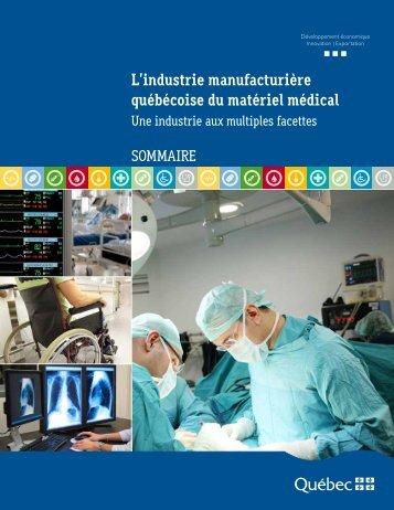 L'industrie manufacturière québécoise du matériel médical - Moodle