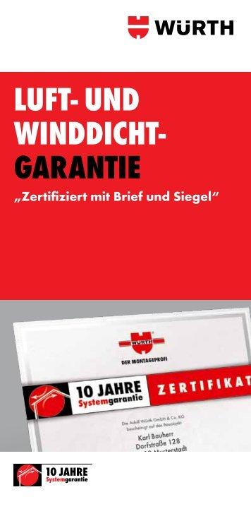 LUFT- UND WINDDICHT- GARANTIE