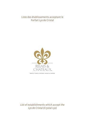List of establishments which accept the Lys de ... - Relais Châteaux