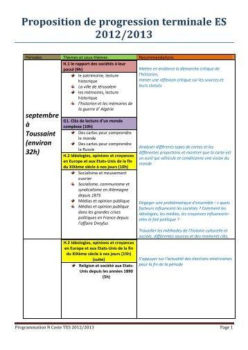 Proposition de progression terminale ES 2012/2013