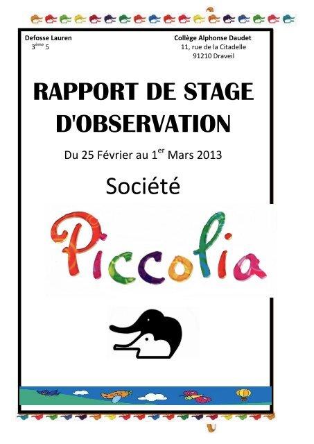 Rapport De Stage D Observation Société Créer Son Blog