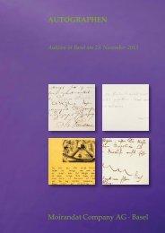 Katalog Auktion 9: Autographen (PDF, niedrige Auflösung, 3.5 MB)