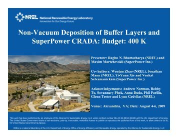 Non-Vacuum Deposition of Buffer Layers and SuperPower CRADA ...