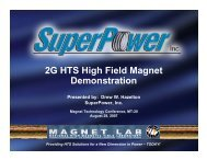 2G HTS High Field Magnet Demonstration - SuperPower Inc.