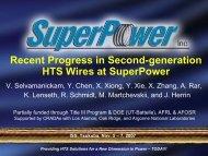 Recent Progress in 2G HTS Wires at SuperPower