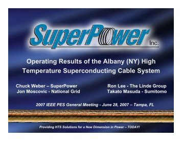 (NY) High Temperature Superconducting Cable System - SuperPower