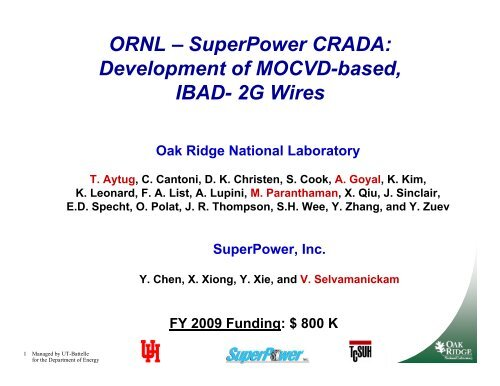 ORNL – SuperPower CRADA: Development of MOCVD-based, IBAD