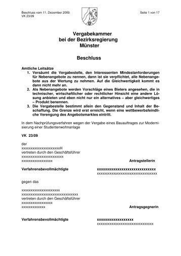 Vergabekammer bei der Bezirksregierung Münster Beschluss