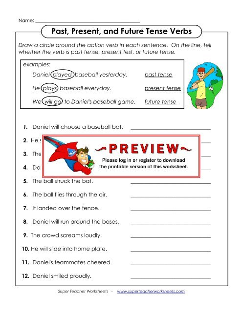 Past, Present, and Future Tense Verbs - Super Teacher Worksheets
