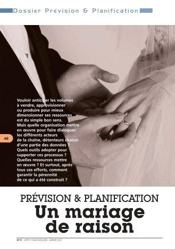 DOSSIER PREVISION ET PLANIFICATION Un mariage de raison